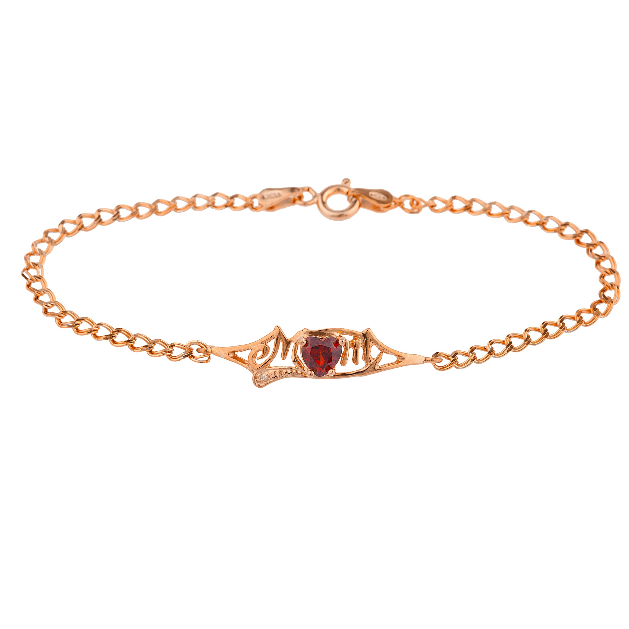 Garnet & Diamond Heart Mom Bracelet 14Kt Rose Gold Plated Over .925 Sterling Silver