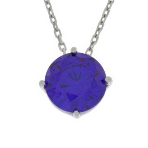 14Kt Gold Amethyst Round Pendant Necklace