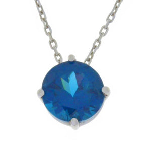 14Kt Gold London Blue Topaz Round Pendant Necklace