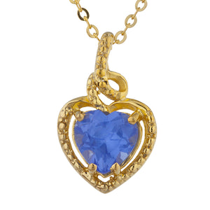 14Kt Gold Tanzanite Heart Design Pendant Necklace