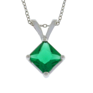 1 Ct Emerald Princess Cut Pendant .925 Sterling Silver Rhodium Finish