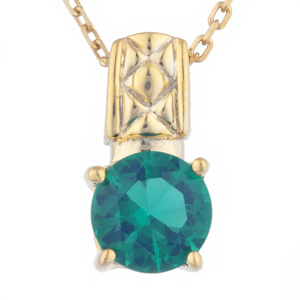 14Kt Yellow Gold Plated Emerald Round Design Pendant