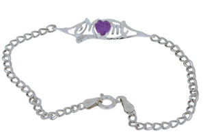 0.50 Ct Alexandrite & Diamond Heart Mom Bracelet .925 Sterling Silver