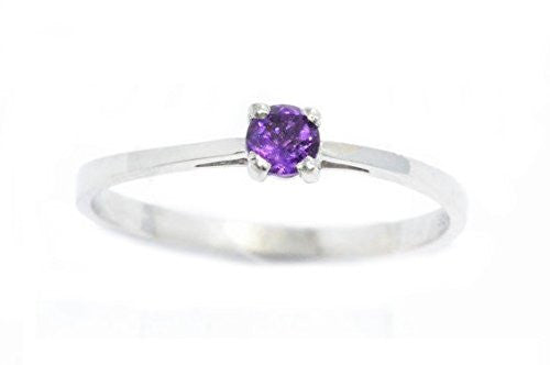 3mm Genuine Amethyst Round Ring .925 Sterling Silver Rhodium Finish