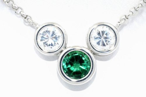2 Ct Created Emerald & Zirconia Round Bezel Pendant .925 Sterling Silver Rhodium Finish
