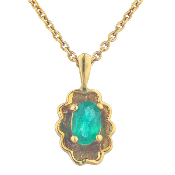 14Kt Yellow Gold Plated Genuine Emerald Oval Design Pendant