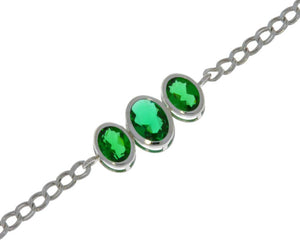 3.5 Ct Emerald Oval Bezel Bracelet .925 Sterling Silver Rhodium Finish