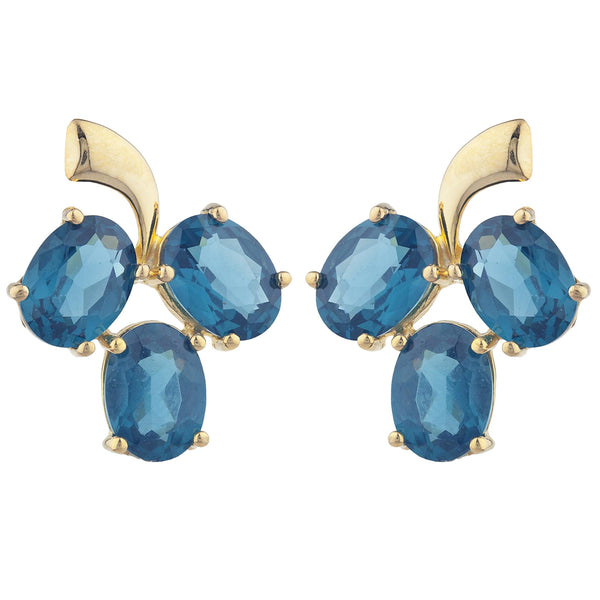 14Kt Yellow Gold Plated London Blue Topaz Oval Design Stud Earrings