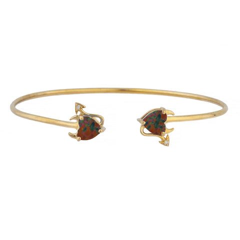 Black Opal & Diamond Devil Heart Bangle Bracelet 14Kt Yellow Gold Rose Gold Silver