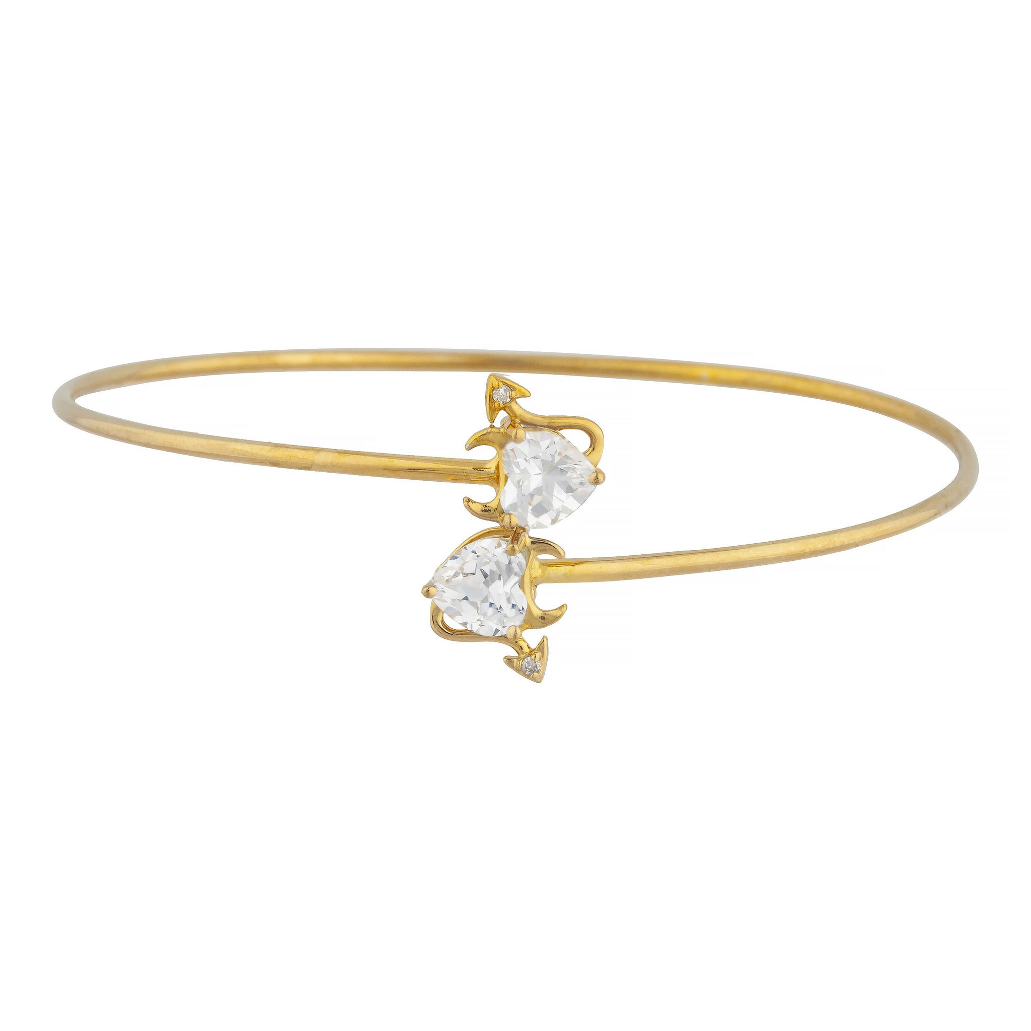 14Kt Gold Zirconia & Diamond Devil Heart Bangle Bracelet