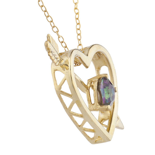 14Kt Yellow Gold Plated Natural Mystic Topaz Heart Bow & Arrow Pendant