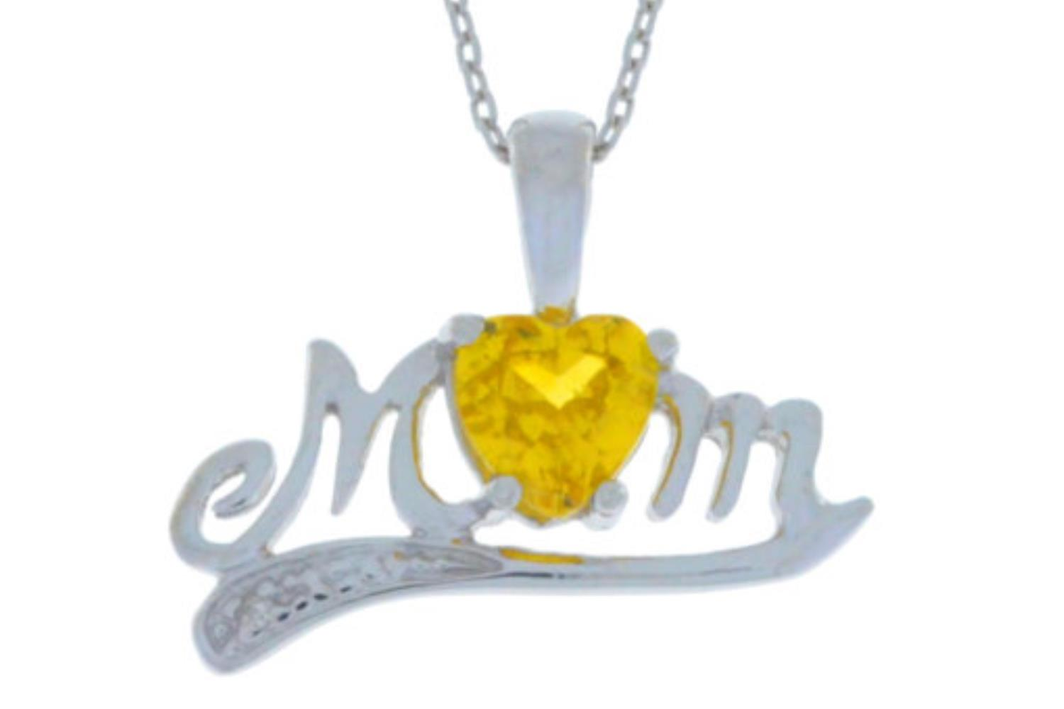 0.50 Ct Citrine Heart Shape Mom & Diamond Pendant .925 Sterling Silver