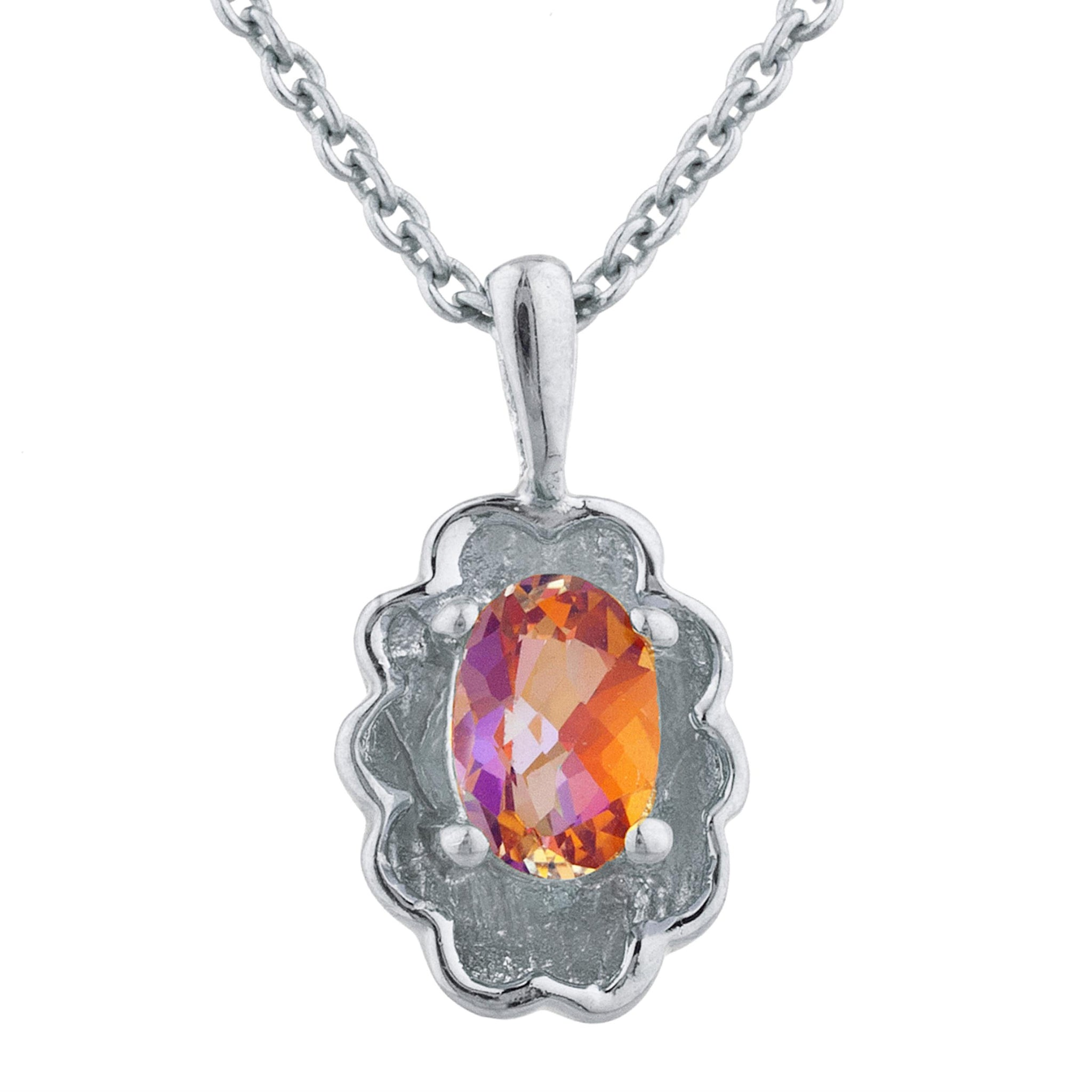 0.50 Ct Natural Ecstasy Mystic Topaz Oval Design Pendant .925 Sterling Silver