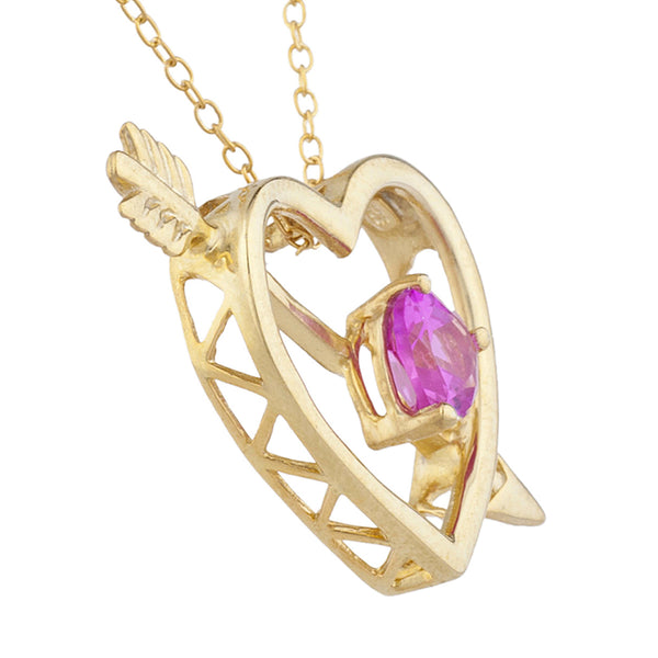 14Kt Yellow Gold Plated Pink Sapphire Heart Bow & Arrow Pendant