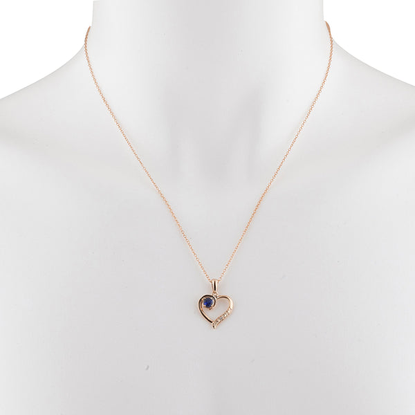 14Kt Rose Gold Plated Blue Sapphire & Diamond Heart Pendant