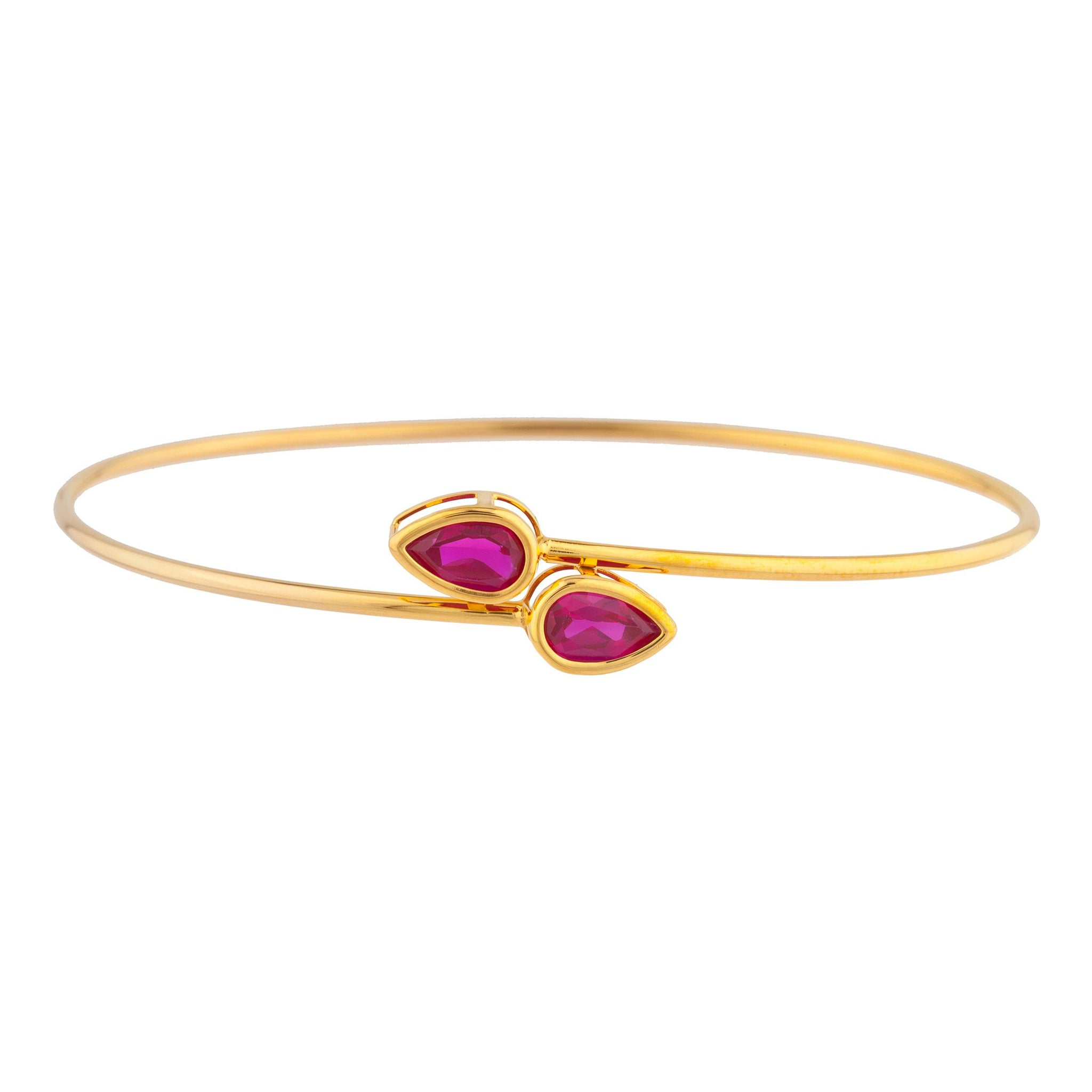 14Kt Yellow Gold Plated Created Ruby Pear Bezel Bangle Bracelet
