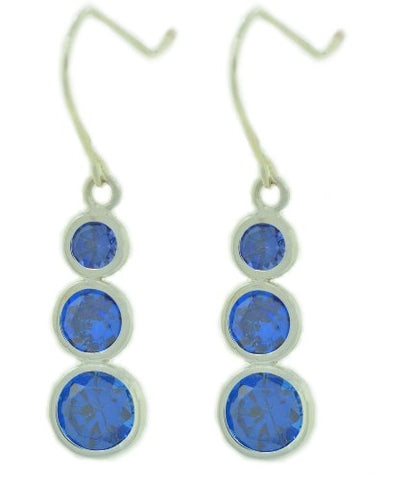 3 Bezel Blue Sapphire Dangle Earrings .925 Sterling Silver