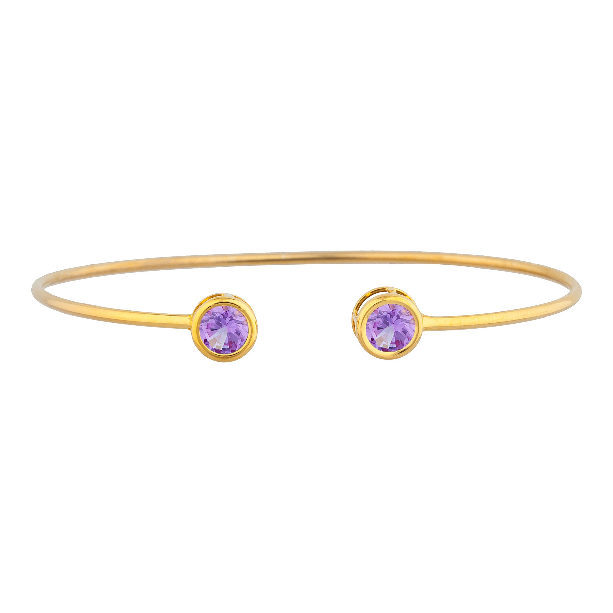 14Kt Yellow Gold Plated Alexandrite Round Bezel Bangle Bracelet