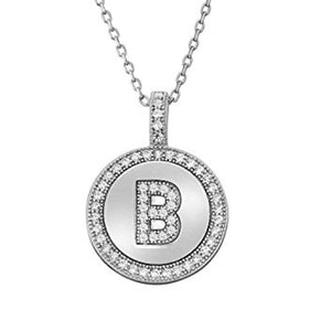 Letter B Micro Pave Initial CZ Pendant .925 Sterling Silver