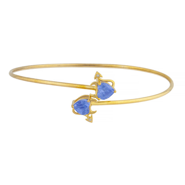 14Kt Gold Tanzanite & Diamond Devil Heart Bangle Bracelet