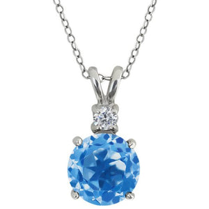 4 Ct Blue Topaz & Zirconia Round Pendant .925 Sterling Silver Rhodium Finish
