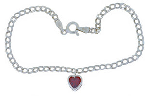 1 Ct Garnet Heart Bezel Bracelet .925 Sterling Silver Rhodium Finish [Jewelry]