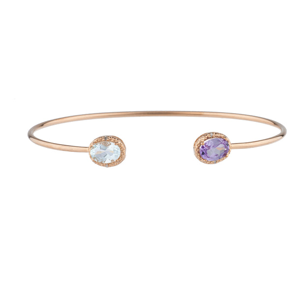 Genuine Aquamarine & Alexandrite Diamond Bangle Oval Bracelet 14Kt Yellow Gold Plated Over .925 Sterling Silver