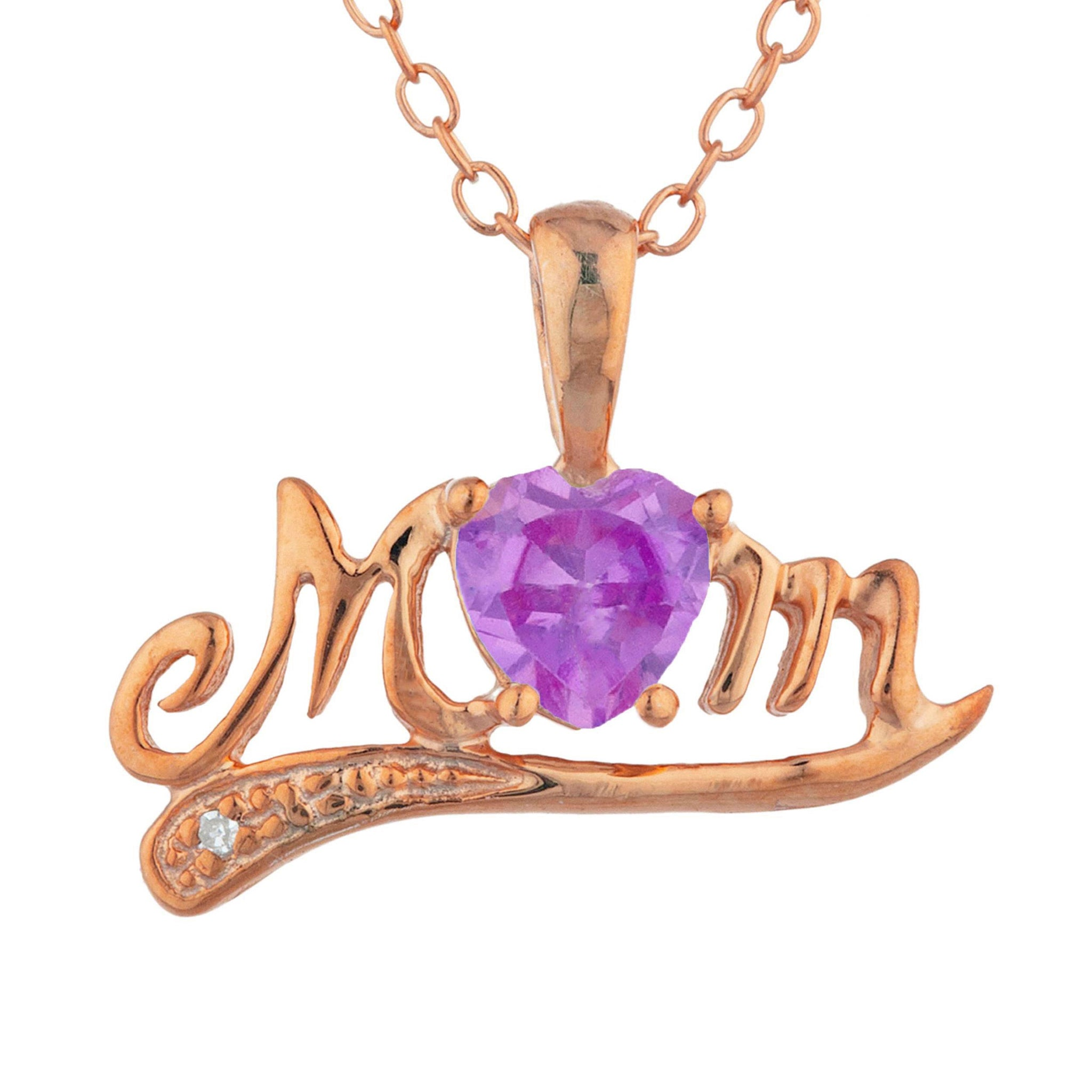 14Kt Rose Gold Plated Pink Sapphire & Diamond Heart Mom Pendant
