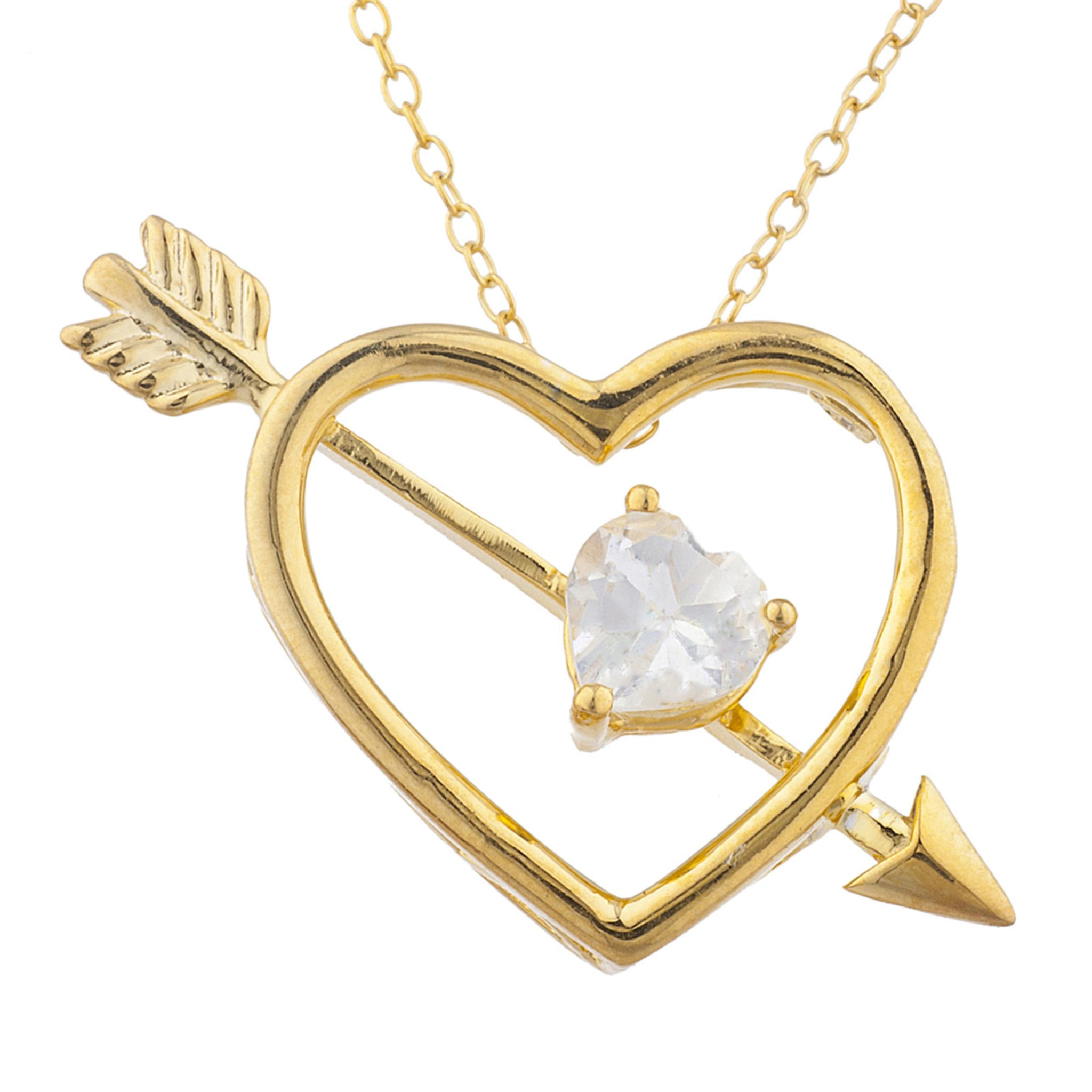 14Kt Yellow Gold Plated Zirconia Heart Bow & Arrow Pendant