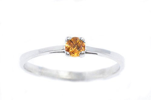 3mm Genuine Citrine Round Ring .925 Sterling Silver Rhodium Finish
