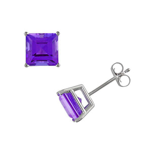 2 Ct Amethyst Princess Cut Stud Earrings 14Kt White Gold