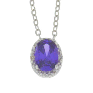 1 Ct Amethyst Oval Diamond Pendant .925 Sterling Silver Rhodium Finish