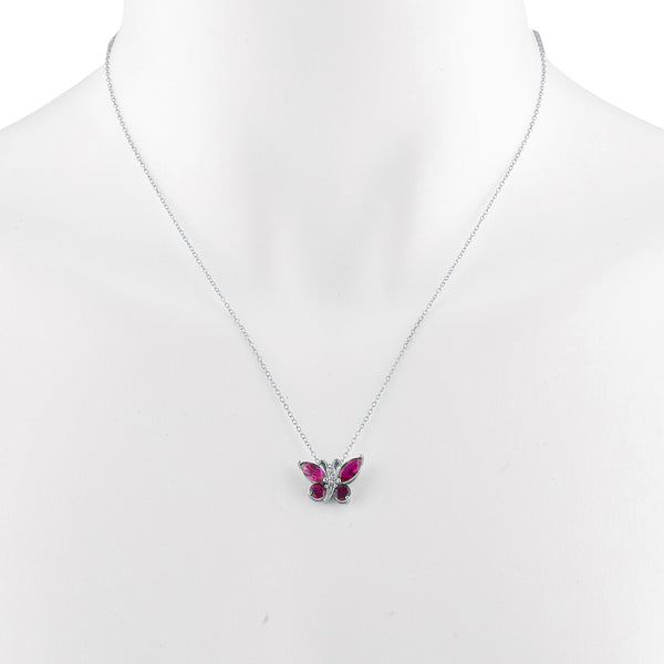 Created Ruby Butterfly Pendant .925 Sterling Silver