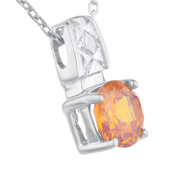 1 Ct Orange Citrine Round Design Pendant .925 Sterling Silver