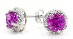 14Kt White Gold Pink Sapphire & Diamond Round Stud Earrings
