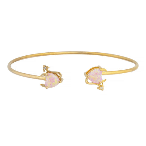 Pink Opal & Diamond Devil Heart Bangle Bracelet 14Kt Yellow Gold Rose Gold Silver