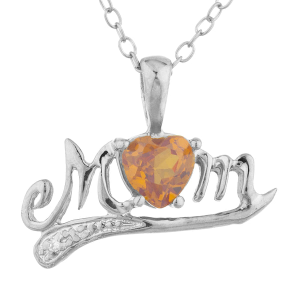 0.50 Ct Orange Citrine & Diamond Heart Mom Pendant .925 Sterling Silver