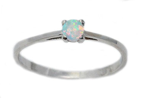3mm Opal Round Ring .925 Sterling Silver Rhodium Finish