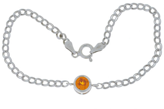 1 Ct Orange Citrine Round Bezel Bracelet .925 Sterling Silver Rhodium Finish