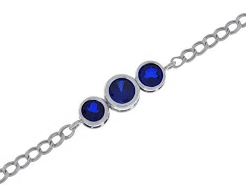 2 Ct Blue Sapphire Bezel Bracelet .925 Sterling Silver Rhodium Finish [Jewelry]