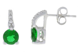 1 Ct Emerald & Diamond Round Stud Earrings .925 Sterling Silver