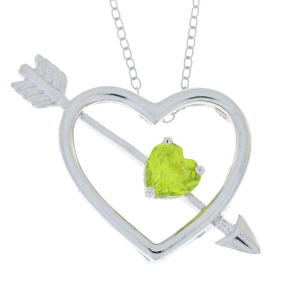 Peridot Heart Bow & Arrow Pendant .925 Sterling Silver Rhodium Finish