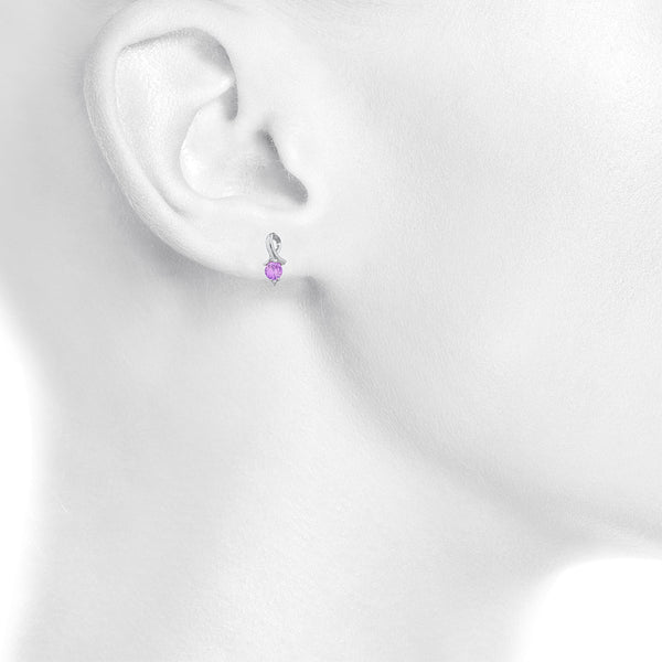 1 Ct Pink Sapphire & Diamond Round Design Stud Earrings .925 Sterling Silver
