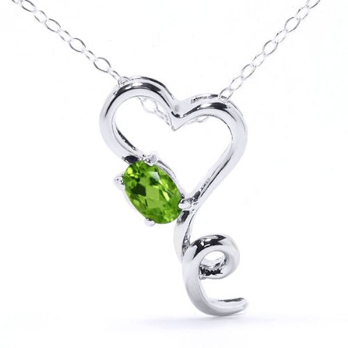 0.50 Ct Peridot Oval Heart Pendant .925 Sterling Silver Rhodium Finish