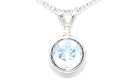 1 Carat Genuine Aquamarine Round Bezel Pendant .925 Sterling Silver Rhodium Finish