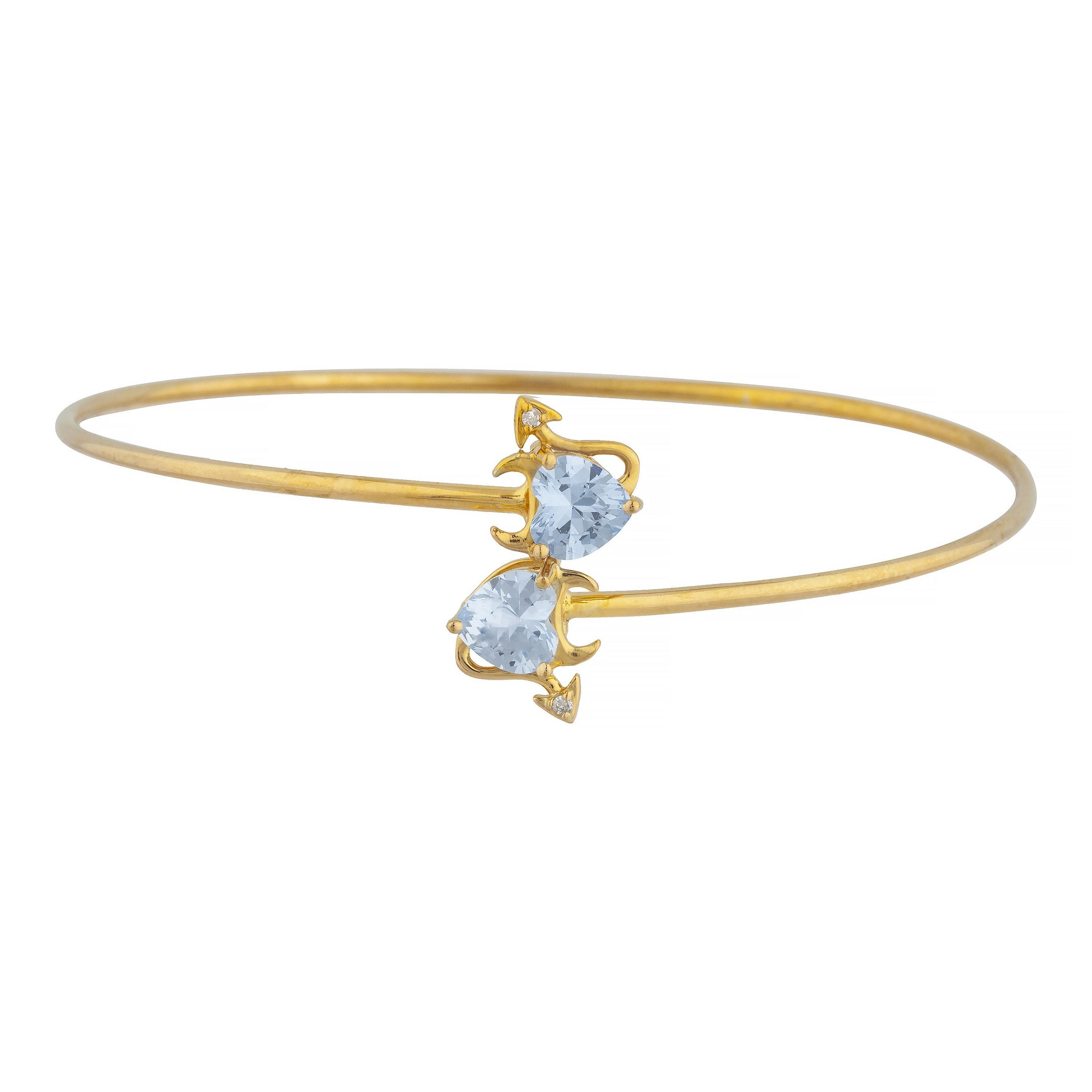 14Kt Gold Genuine Aquamarine & Diamond Devil Heart Bangle Bracelet