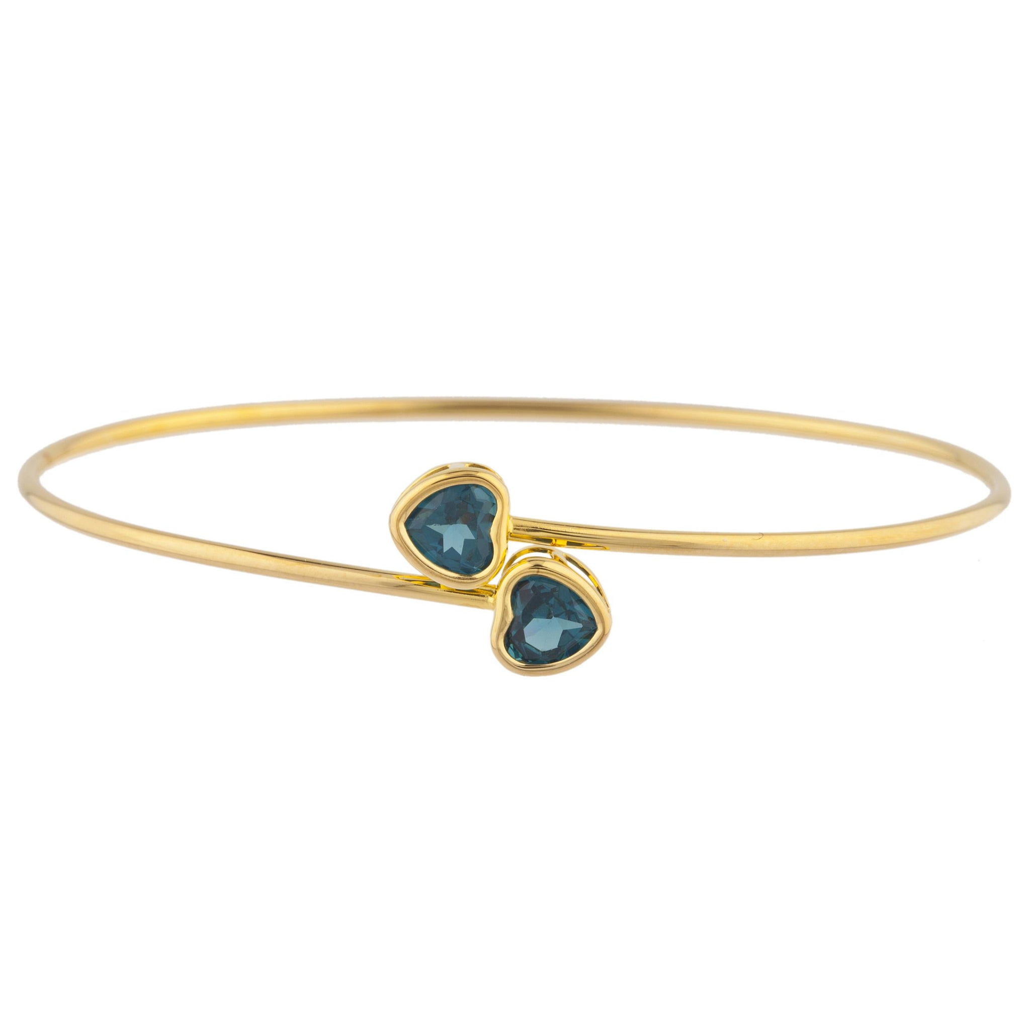 14Kt Yellow Gold Plated London Blue Topaz Heart Bezel Bangle Bracelet