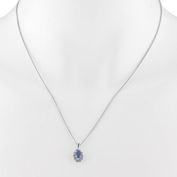 0.50 Ct Blue Sapphire Oval Design Pendant .925 Sterling Silver