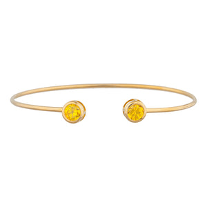 14Kt Yellow Gold Plated Yellow Citrine Round Bezel Bangle Bracelet