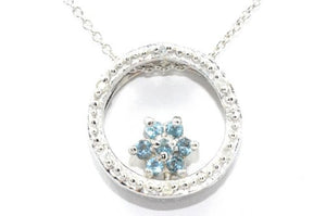 London Blue Topaz Round Diamond Pendant .925 Sterling Silver Rhodium Finish